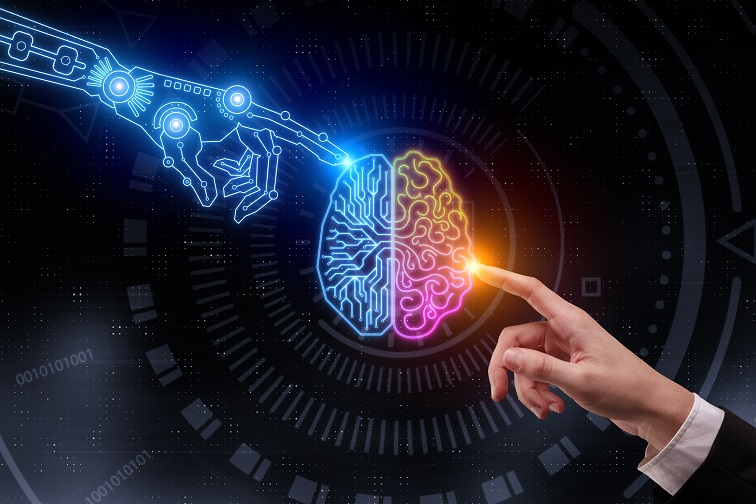AI: Hand pointing at glowing digital brain. Artificial intelligence and future concept. 3D Rendering